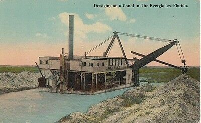 DREDGING THE EVERGLADES 1910s - OLD BOAT in EARLY FLORIDA - MIAMI FT LAUDERDALE