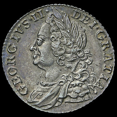1758 George II Early Milled Silver Shilling – G/EF