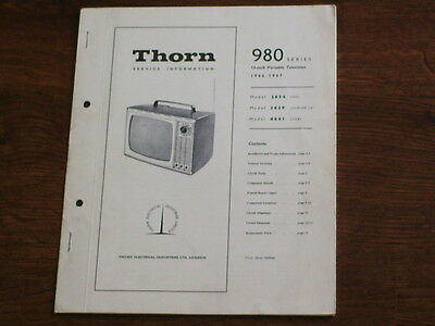 Service Manual- Thorn  980  Series - Portable  405 Line Vintage Television