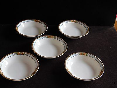 5 Vintage Fruit/Dessert Bowls in Nebraska Blue by  J & G Meakin