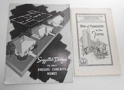 c1948 CONCRETE HOME DESIGNS Portland Cement & 1937 Government brochure