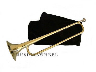 Cavalry BUGLE Army Regulation - Gold Lacquer with Velvet Pouch