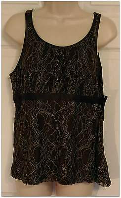 Women's Merona Brown Lace Lined Tank Top Size L Large NWT