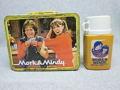 1979 MORK & MINDY Tv LUNCHBOX & THERMOS Robin Williams,Robot,Mork from Ork C#7.5