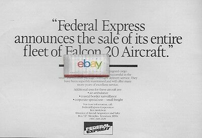 Fedex Federal Express Air Freight 1983 Sale Of Entire Fleet Of Falcon 20 Jets Ad