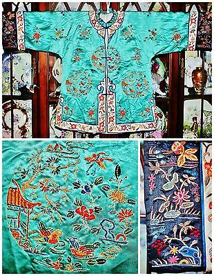 Antique Chinese Emerald Green Silk Robe Forbidden Stitches Embroidered Textile