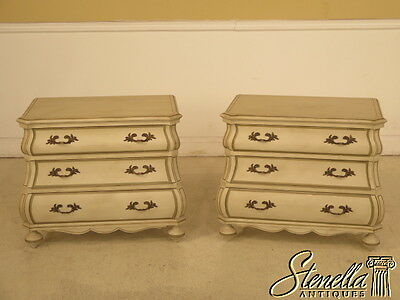 23855E: Pair Paint Decorated Bombe  Curved Nightstands