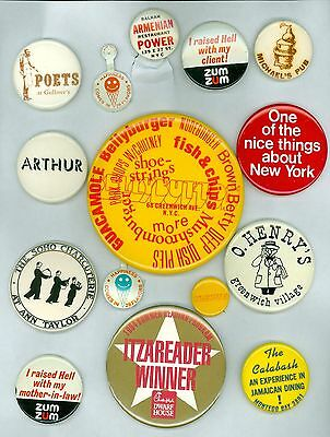 13 Vintage 1970s-90s New York Restaurant Advertising Pinback Buttons & 2 Tabs
