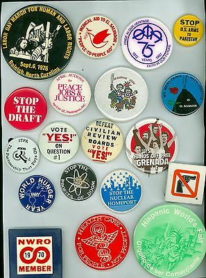 19 Vintage 1970s-80s Peace & Anti-War Human Rights Pinback Buttons Stop Draft