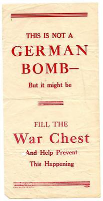 Original WWI Air Dropped Leaflet This is Not a German Bomb - But it Might Be