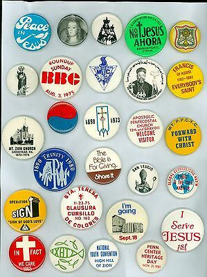 27 Vintage 1960s-70s Assorted Religious Pinback Buttons - Forward With Christ