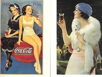 Two 2 Coca Cola Post Cards Vintage