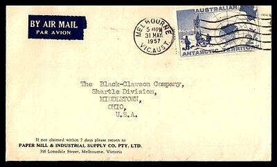 May 31, 1957 Melbourne Australia Cover Antarctic Territory To Middletown Ohio