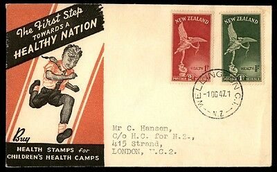 October 1, 1947 Health Stamps Wellington New Zealand Cover