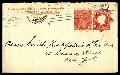 Australia Hobart to United Stats 1928 Uprated Stationery Cover Webster & S