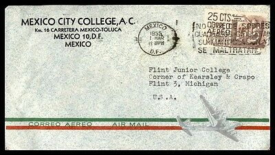 Mexico 1955 Mexico City College Commercial Cover With Slogan Cancel To Usa