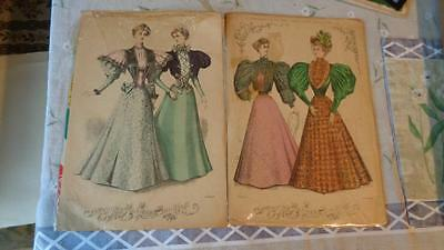 2 Young Ladies Journal  Print  1896 Plate 4 & 5 Color Size  12x8.5 inches