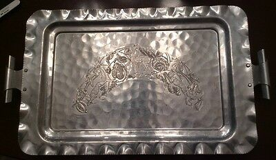 Vintage Cromwell Hand Wrought Hammered Aluminum Large Tray With Handles L4