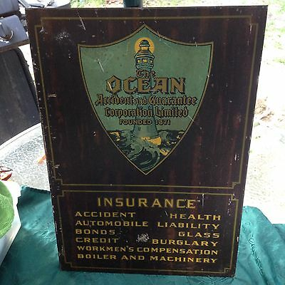 Vintage/ANTIQUE 1930s Ocean Insurance co. Metal Sign W/ Lighthouse Graphic