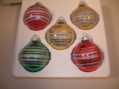 Vintage Christmas Decoration Glass Ornaments Striped