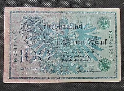 OLD BANK NOTE OF GERMANY 100 MARK 1908 GERMAN EMPIRE Nr2741551G (GREEN SEAL)