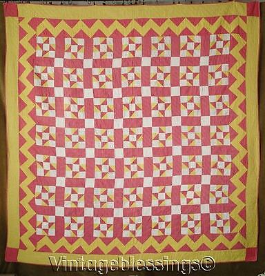 ANTIQUE c1900 Pennsylvania Double Pink Yellow White PINWHEEL QUILT 81x80""