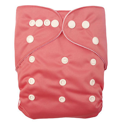 Light Pink 2pcs Adjustable Reusable Baby Washable Cloth Diaper Nappies 03US3