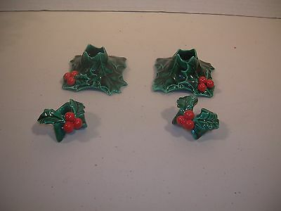 Vintage Christmas Decoration Set Holly Candle Holders & Huggers Japan