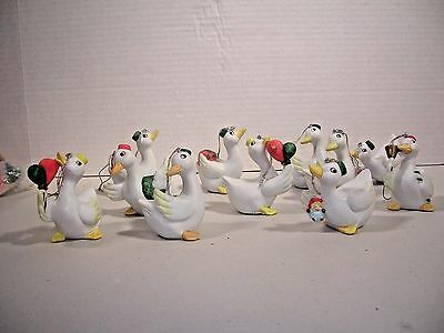 Vintage Christmas Decoration Set Of Ceramic Geese Ornaments