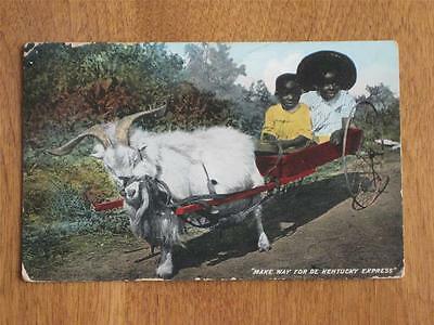 Antique Pc 2 Black Children In A Goat Drawn Cart, Used Early 1900's
