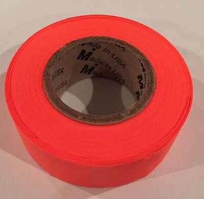 "2 ROLLS Flagging Tape Orange Glo 1 3/16"" X 150' Mutual Industries 16001"