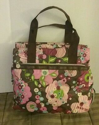LeSportSac Pink Brown Blue Flower Floral Diaper Bag