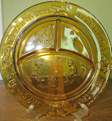 Vintage Indiana Tira Nursery Rhymes Amber Divided Child's Plate 1960's
