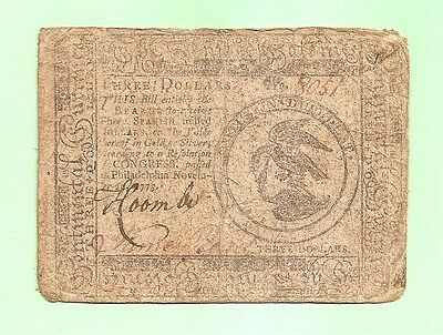 1775 $ 3 Continental Currency Colonial Note Fine Condition Pre-Revolution Note