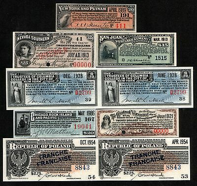 20 DIFF RARE ANTIQUE BOND COUPON BOOKMARKS! So much HISTORY & FUN for so little!