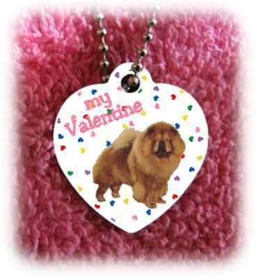 """Chow Chow Dog heart necklace 24"""" chain Valentine NEW"""
