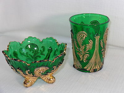 EAPG Northwood Green & Gold Pattern Glass Inverted Fan &  Feather Tumbler & Bowl
