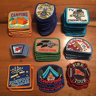 Lot of 75+ Girl Scouts / Boy Scouts Merit Badge TV Fire Tour Camping Patches s5