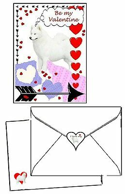 30 piece Valentine Cards 10 sets Samoyed dog laser printed envelopes & seals