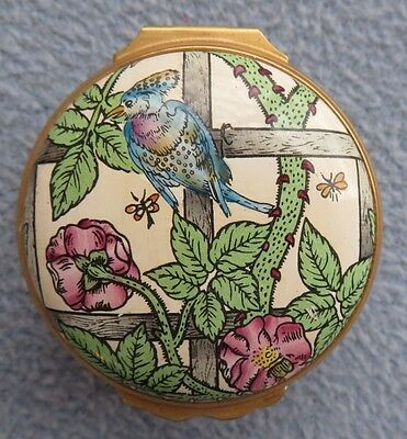 Halcyon Days England The Trellis Birds & Floral Enameled Trinket Box Museum