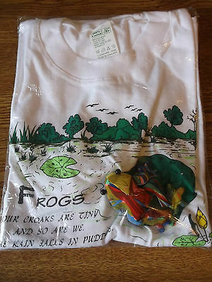 Youth unisex Size Large Frogs Lilly Pads T-Shirt Top Short sleeve White