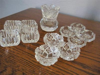 Lot Of 11 Crystal Individual Open Salt Dishes  Dips - 1 Crystal Toothpick Holder