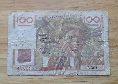 1949 France 100 Francs  World Currency Note