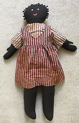 "29"" Handmade  Black Clothy Doll W/knotted Yarn Hair"