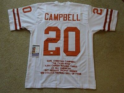 Earl Campbell Signed Auto Texas Longhorns White Stat Jersey Jsa Autographed