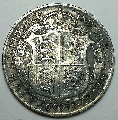 1919 UK Great Britain half crown silver coin, sterling, 925