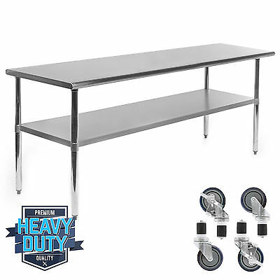 """Stainless Steel Commercial Kitchen Work Food Prep Table w/ 4 Casters - 24"""" x 72"""""""