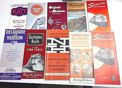 10 Piece Railroad Timetable Collection