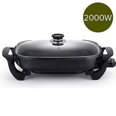 2000W Electric Non Stick Frying Pan with Glass Lid Family Size FryPan