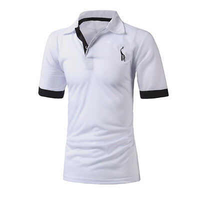 White S Mens Stylish Casual Slim Fit Short Sleeve Polo Shirts T-shirt Tee Tops